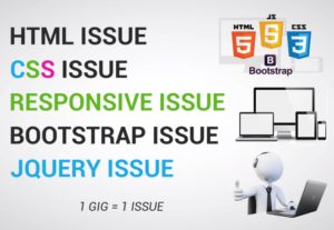 I will fix HTML, Css, jQuery, Bootstrap or Responsive Issue